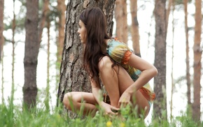 trees, long hair, model, skinny, grass, nature