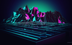 digital art, Lacza, artwork, 3D, low poly, mazes