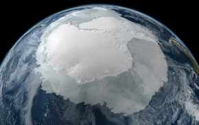 space, Antarctica, ice, continents, black background, planet