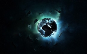 stars, pixels, Earth, Europe, space, cube