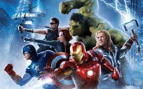 lightning, Scarlett Johansson, Thor, Iron Man, Captain America, Avengers Age of Ultron