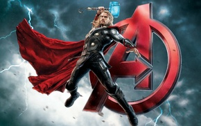 Thor, Avengers Age of Ultron, Mjolnir, superhero, lightning, Chris Hemsworth