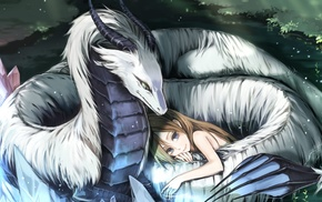 anime girls, original characters, dragon, Pixiv Fantasia