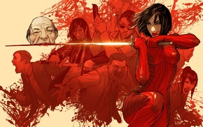 katana, blood, anime, vampires