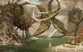sea, house, beach, digital art, painting, fantasy art