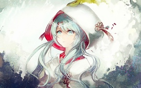 Yuki Miku, silver hair, crying, Vocaloid, Hatsune Miku