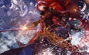 dragon, Pixiv Fantasia, katana, sword