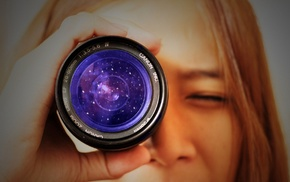 long hair, closed eyes, Canon, depth of field, stars, girl
