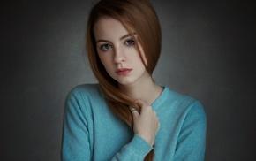 redhead, freckles, portrait, girl, model, Ann Nevreva