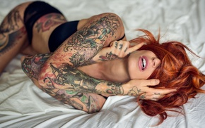 blindfold, hair in face, model, in bed, redhead, Anne Lindfjeld