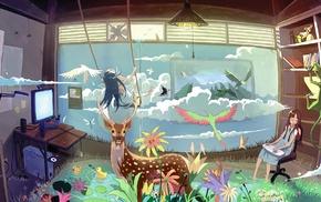 colorful, surreal, anime girls, original characters, animals, anime