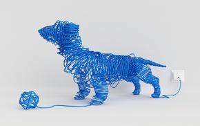ball, animals, dog, imagination, white background, blue