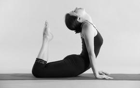 yoga, monochrome, yoga pants, girl