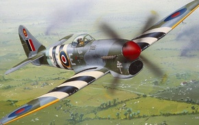 airplane, D, Day, Hawker Typhoon, military, military aircraft