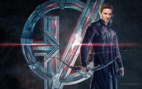 Jeremy Renner, bow and arrow, Clint Barton, Avengers Age of Ultron, symbols, Hawkeye