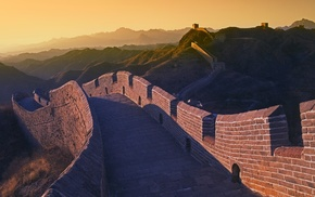 sunset, hill, architecture, Great Wall of China, landscape, China