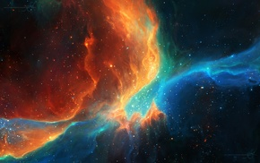 nebula, orange, space art, stars, TylerCreatesWorlds, space