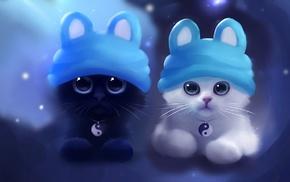 artwork, Apofiss, cat, Yin and Yang
