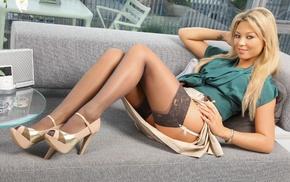 Natalia Forrest, model, girl, blonde, smiling, tattoo