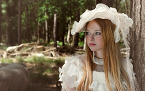 freckles, redhead, girl outdoors, nature, model, white dress