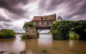 plants, bridge, architecture, long exposure, water, house