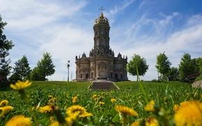 grass, church, sculpture, Russia, trees, flowers
