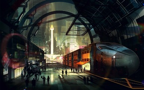 robot, railway, building, digital art, arch, artwork