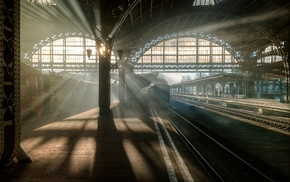 arch, pillar, sunlight, train, sun rays, Russia