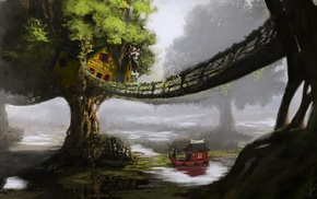 bridge, fantasy art, boat, trees, water, artwork