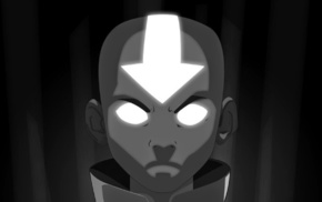 angry, Avatar The Last Airbender, monochrome, Aang