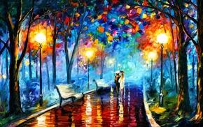 Leonid Afremov, park, street light, rain, painting, trees