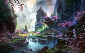 cherry blossom, fantasy art, Asian architecture