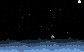 moon, cave story, dragon, stars, pixels, pixel art