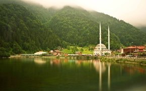mist, Turkey, mosques, trees, forest, lake