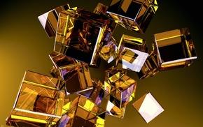 digital art, minimalism, reflection, yellow background, cube, geometry