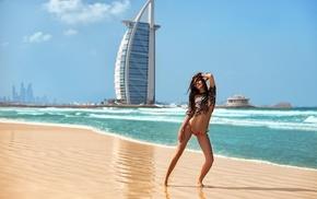 Dubai, girl, brunette, summer, bikini, beach