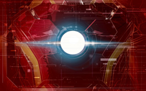 Iron Man, lines, glowing, red background, costumes, interfaces