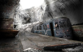 dystopian, abandoned, subway, ruin