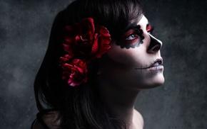 Sugar Skull, brunette, makeup, Dia de los Muertos, flowers