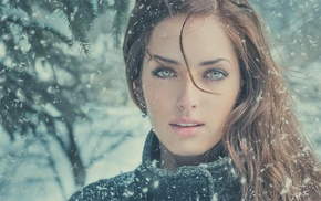 winter, Sarah Allag, girl, face, green eyes, JimaGination