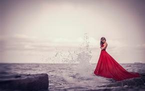 girl outdoors, rock, waves, horizon, wet, long hair