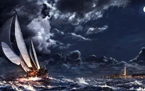 sea, stars, painting, artwork, clouds, ship