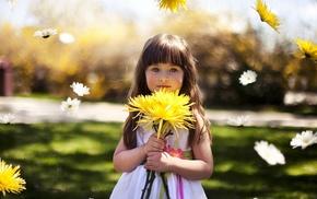 bokeh, floating, children, flowers