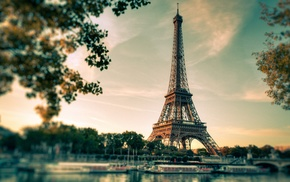 blurred, trees, boat, filter, tower, France