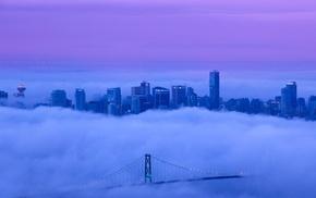 purple sky, clouds, landscape