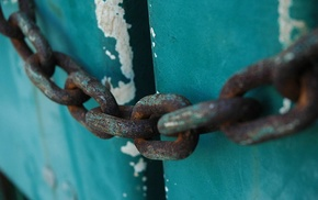 chains, metal, rust, wood
