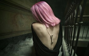 backless, girl, pink hair, stairs, keys