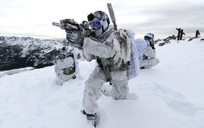 military, winter, FN SCAR, Mk 18 Mod 0, snow, Navy SEALs
