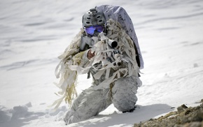 Mk 18 Mod 0, military, snow, winter, Navy SEALs, FN SCAR