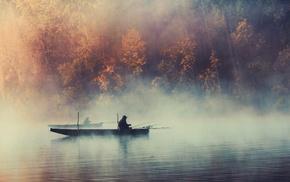 mist, landscape, lake, water, fishing, fall